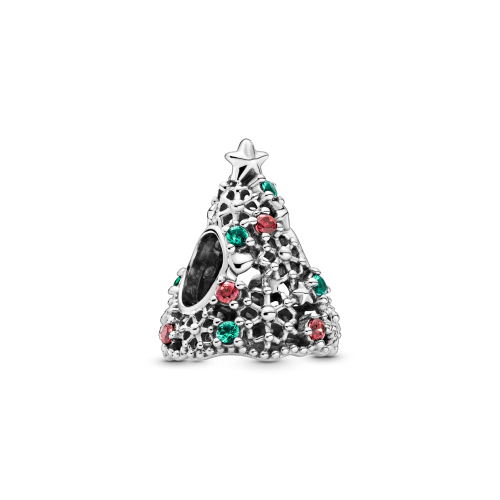 Pandora Glitter Christmas Tree Charm in sterling silver. The openwork Christmas tree has stars, hearts, snowflakes, red, and green stones for decorations, including a 5-point star on top and a cut-out snowflake underneath the tree.