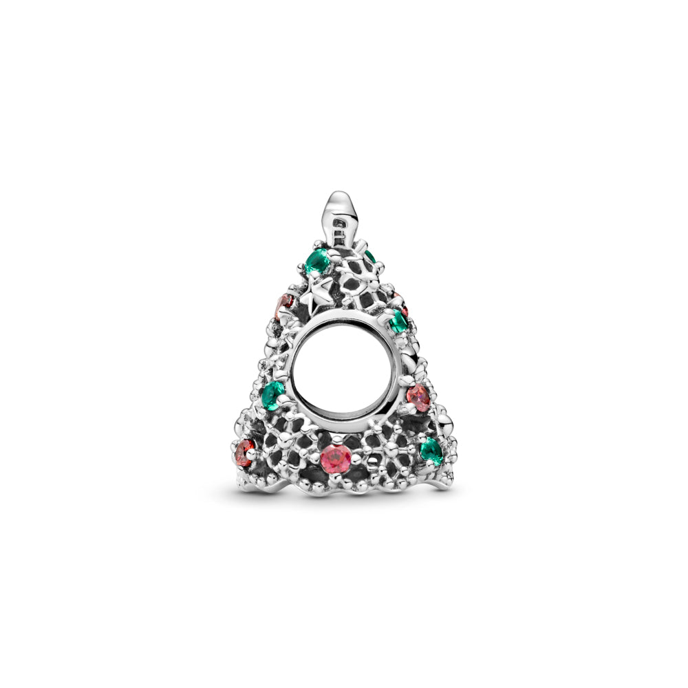 profile view of Pandora Glitter Christmas Tree Charm in sterling silver. The openwork Christmas tree has stars, hearts, snowflakes, red, and green stones for decorations, including a 5-point star on top and a cut-out snowflake underneath the tree.