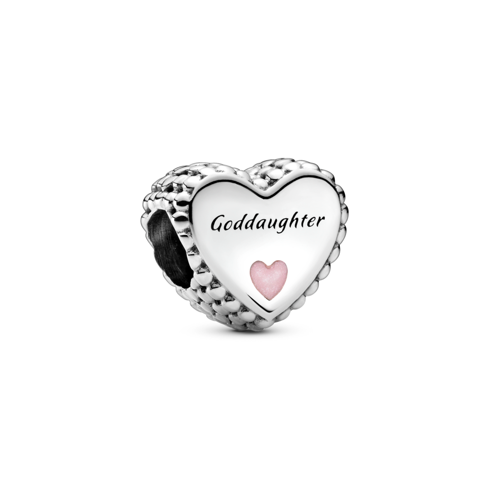 Pandora Goddaughter Heart Charm in sterling silver with beading on the sides and small enamel heart on the front