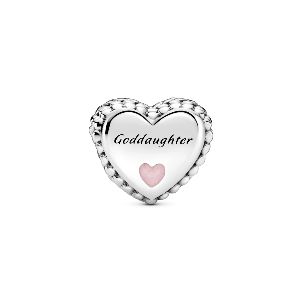 Front view of Pandora Goddaughter Heart Charm in sterling silver with beading on the sides and small enamel heart on the front