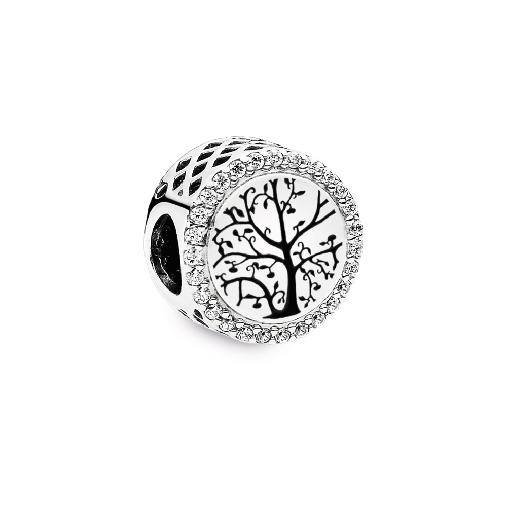 Pandora Grandma charm in sterling silver with sparkling czs on the edge of the button shaped charm. A close up view of the family tree with leaves and branches is engraved in black enamel on the back