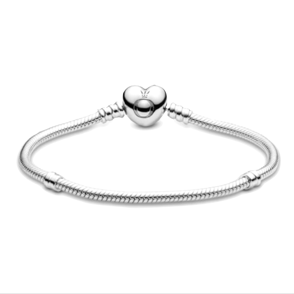 Pandora moments sterling silver snake chain heart clasp bracelet. Pandora O crown engraved on heart clasp with two threading stations for clips framing the middle section of the bracelet.