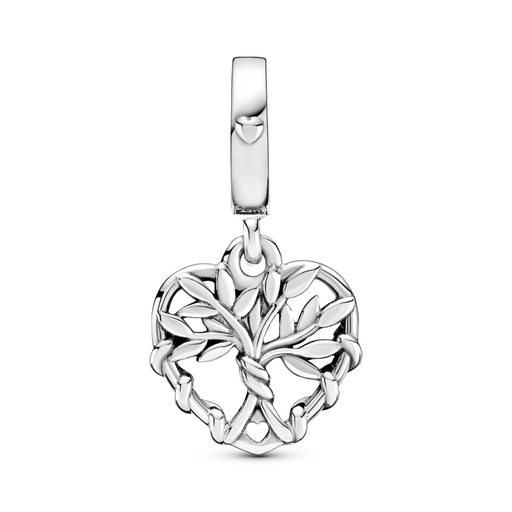 Pandora Family Tree Heart dangle charm. Hand-finished in sterling silver, inside the heart shape dangle stands a tree with pronounced leaves and roots wrapped around the charm's outline.