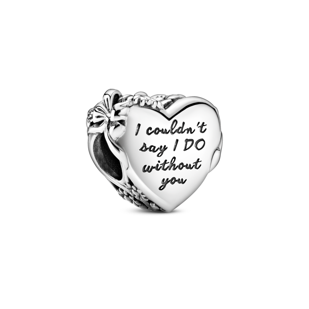 "Pandora Wedding Heart Charm in sterling silver engraved ""I couldn't say I DO without you"""