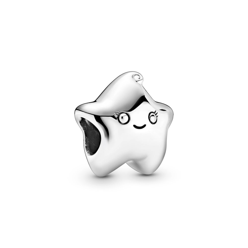 Pandora Isa the Star Charm in sterling silver. This star design includes a grooved smiling mouth, eyes with pretty eyelash details and a cute swirl on top.