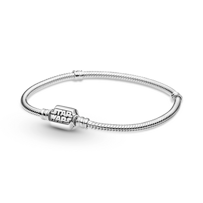 Pandora Star Wars logo clasp sterling silver snake chain bracelet with 2 threading stations for clips.