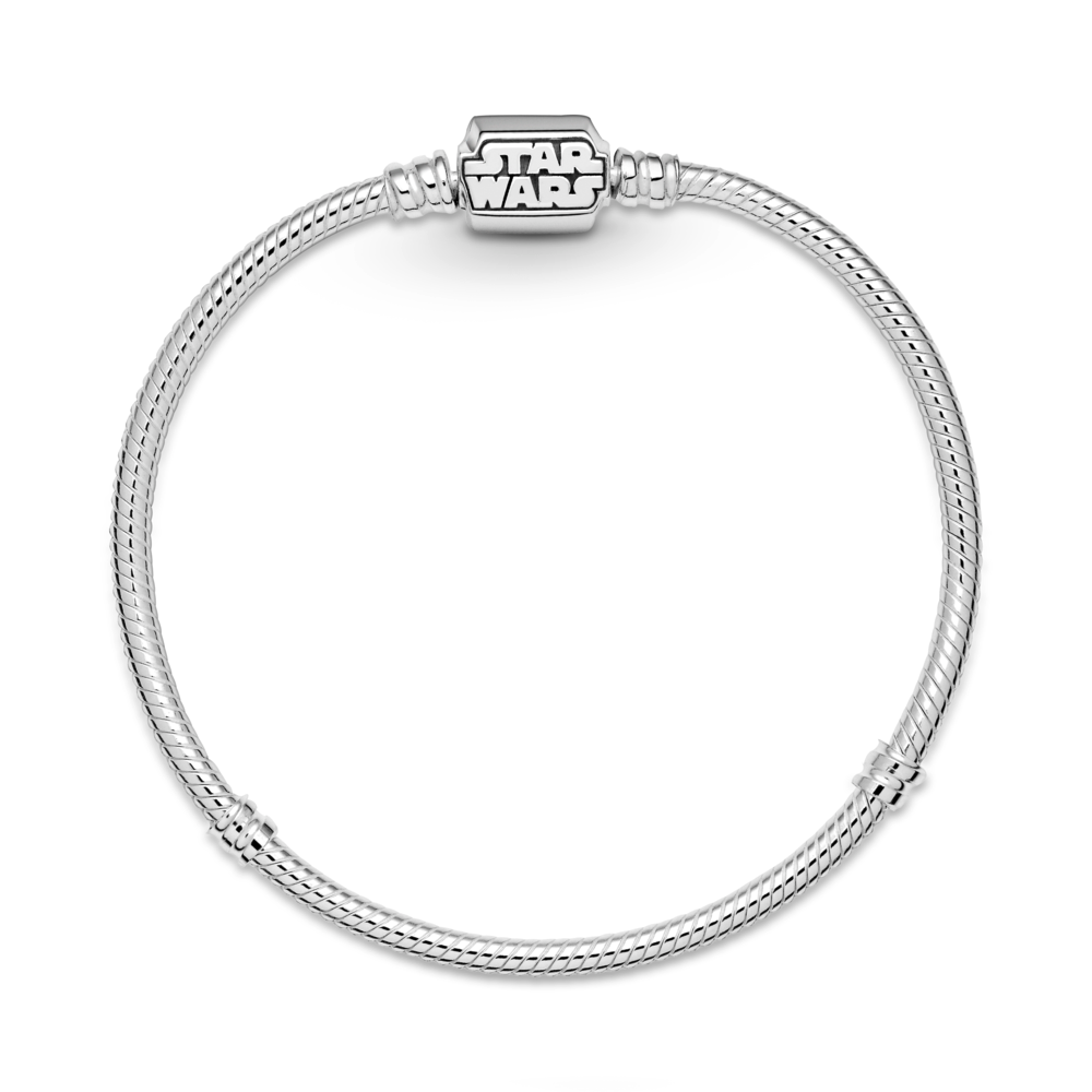Flat Lay Pandora Star Wars logo clasp sterling silver snake chain bracelet with 2 threading stations for clips.