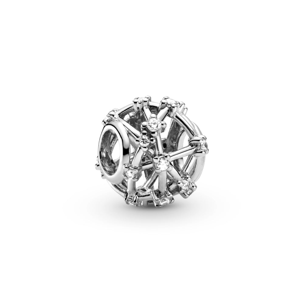 Pandora Openwork Star Constellations Charm in sterling silver. Clear stones are set along the charm's rounded openwork lines to mimic the formation of the stars in space.
