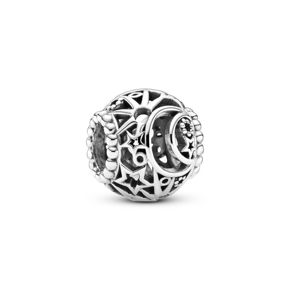 Pandora Openwork Sun, Stars and Moon Charm. Hand-finished in sterling silver, this detailed celestial design features a cut-out crescent moon, sun and star filigree motifs  with beaded edges around the charm's openings.