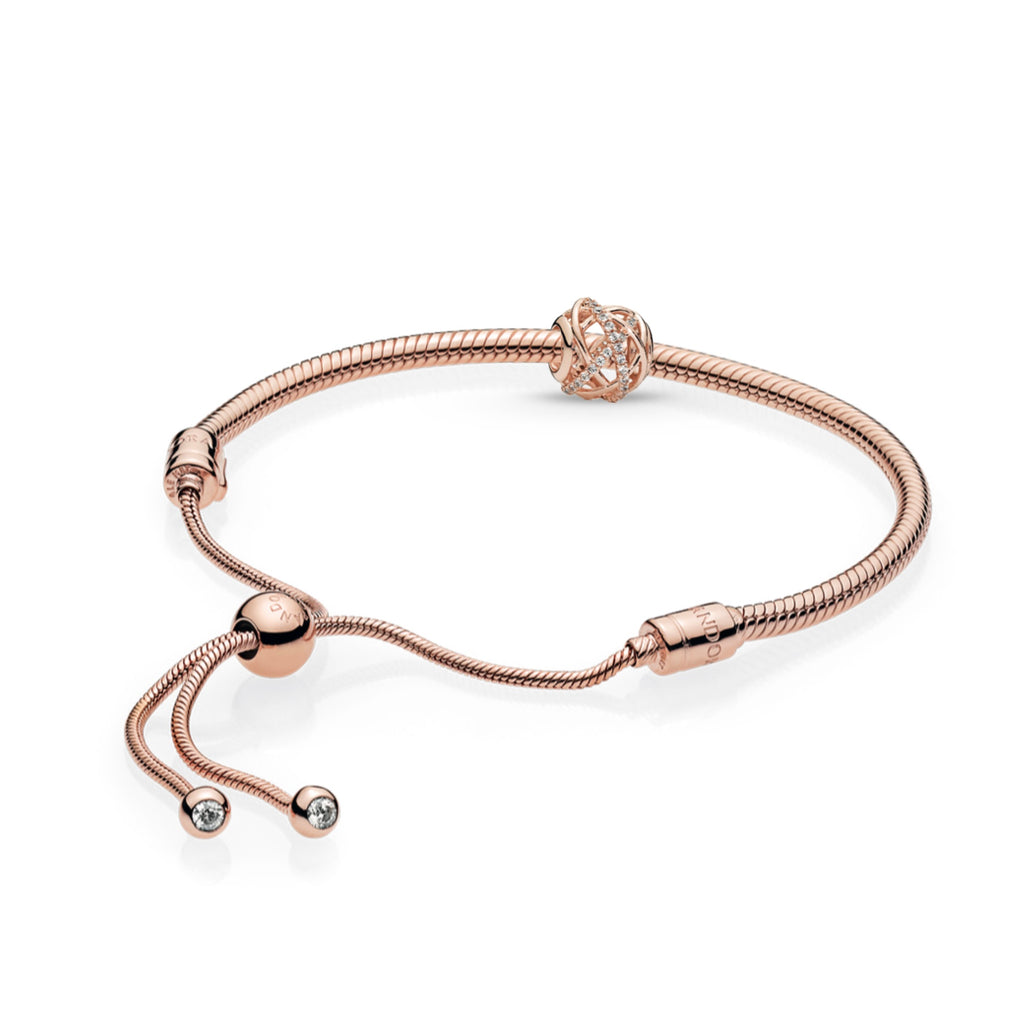 Pandora Rose Moments bolo sliding clasp bracelet with CZs featuring the Galaxy charm as the centerpiece of the bracelet