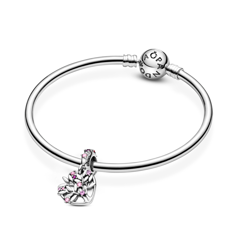 Pandora Pink Heart Family Tree Dangle Charm. Hand-finished in sterling silver featured on Pandora moments sterling silver bangle.