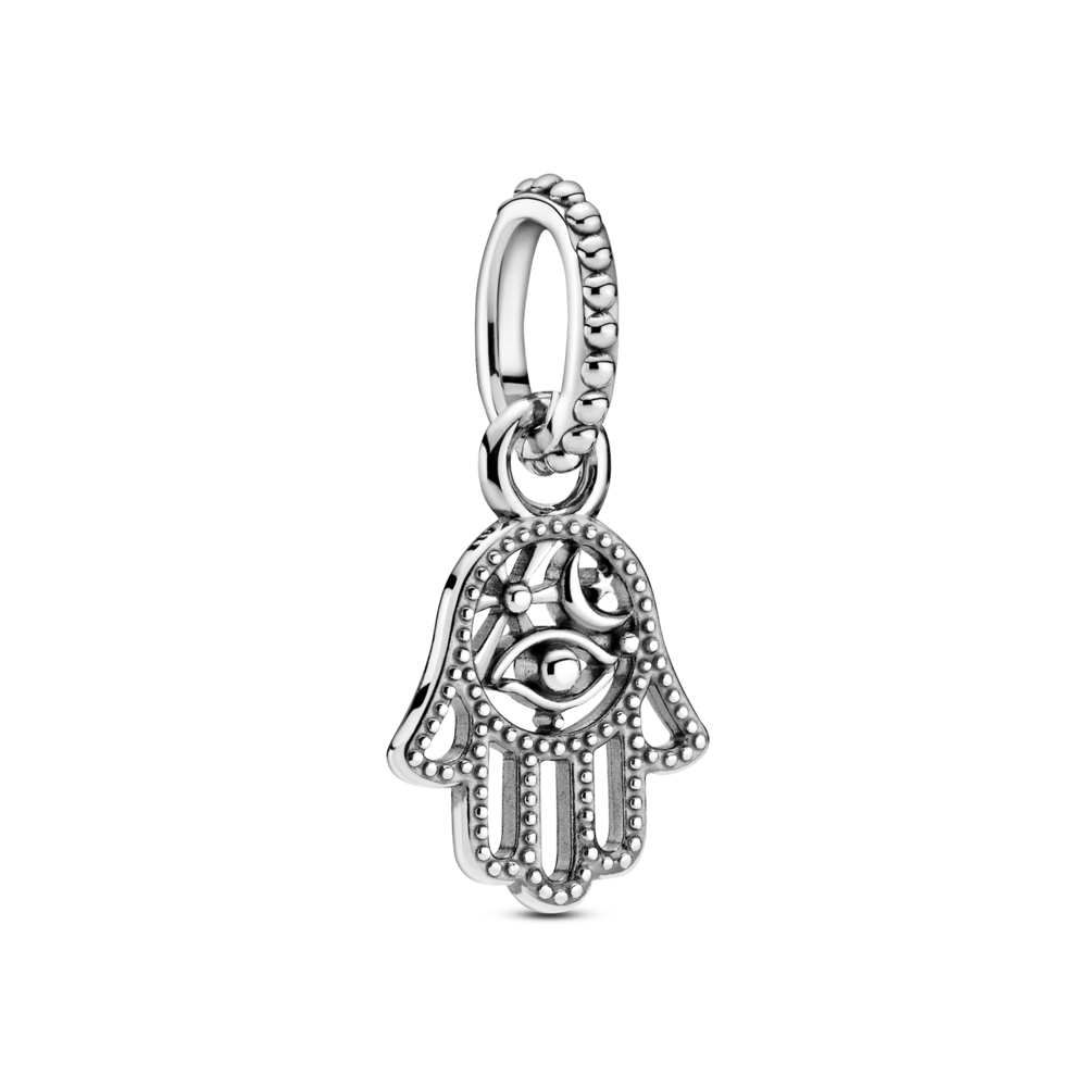 Pandora Protective Hamsa Hand Dangle Charm. Hand-finished in sterling silver, hanging from a beaded bail, an eye, sun and crescent moon motifs are inside the intricate openwork Hamsa hand design, finished with beading along its outline.