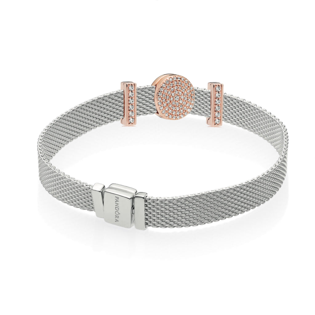 Pandora Reflexions Sterling Silver Mesh Bracelet featuring 3 Pandora Rose Charms. The centerpiece is the Dazzling Elegance Round Pave Clip Charm flanked by The  Timeless Sparkle bar clip charms in Pandora Rose with Clear Cubic zirconias
