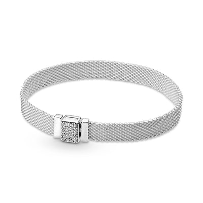Pandora Reflexions™ Sparkling Clasp Bracelet in sterling silver. A flat mesh bracelet with a sparkling CZ rectangular clasp.