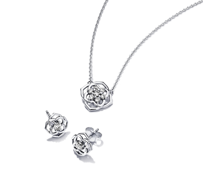 Pandora Rose Petals Jewelry Gift Set with a necklace and earrings in sterling silver.