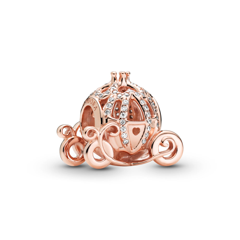 Pandora Rose™ Disney Cinderella Sparkling Carriage Charm is shaped like her pumpkin carriage, decorated with clear stones, features a 3D crown on its roof and ornamental wheels.