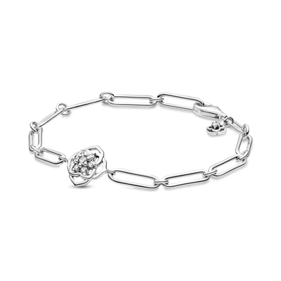 Pandora Rose Petals Link Bracelet in sterling silver with clear cubic zirconia