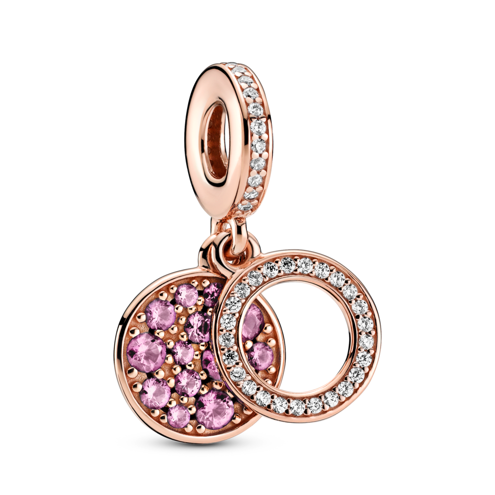 Pandora Sparkling Pink Disc Double Dangle Charm in 14k Rose Gold plated blend. The back disc has beading and pink stones in various sizes. The Bale and front Open circle disc is channel set with clear CZ.