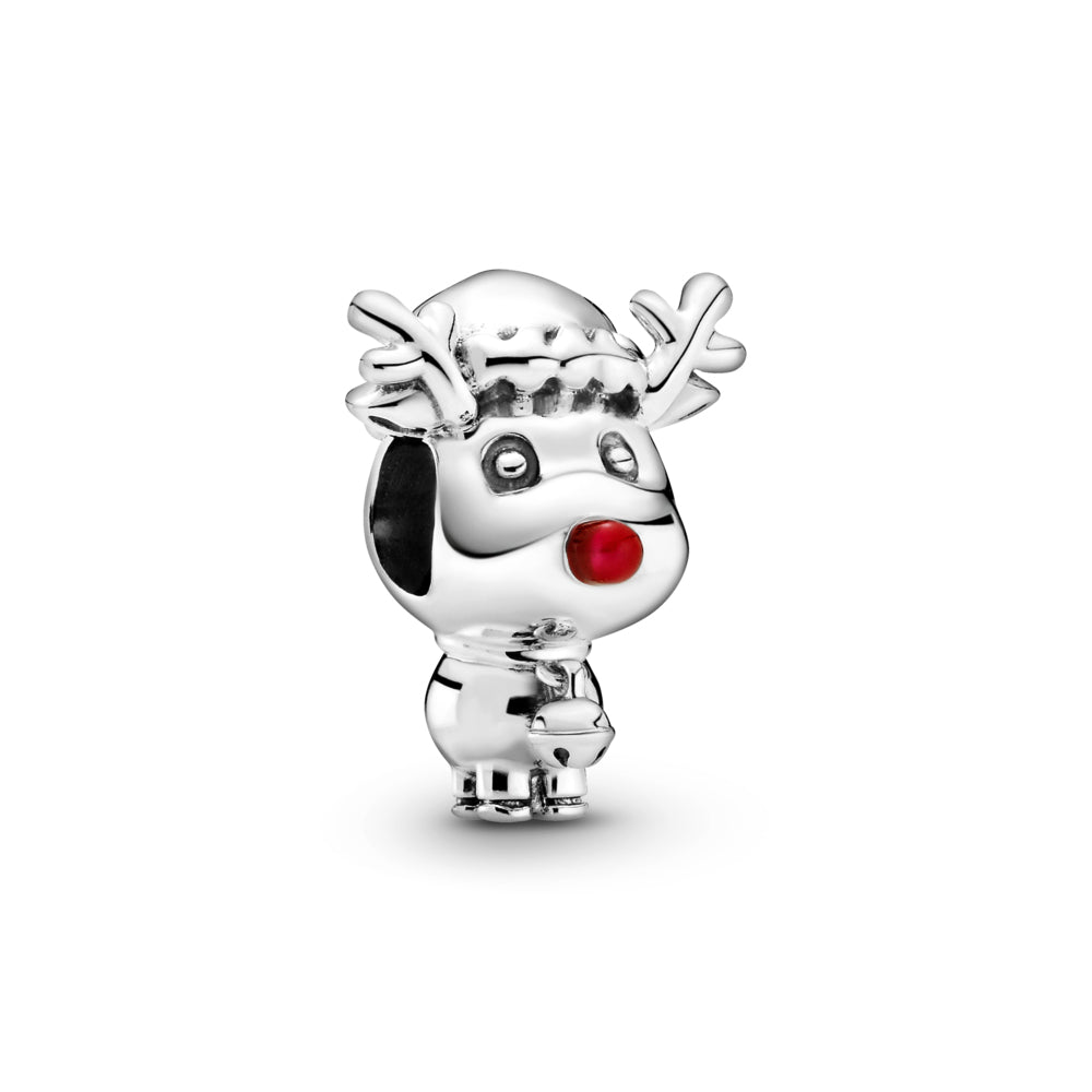 Pandora Rudolph the Red Nose Reindeer Charm in sterling silver. He has a large head and small body, with antlers, a Christmas hat, small tail, bell, and a big red enamel nose.
