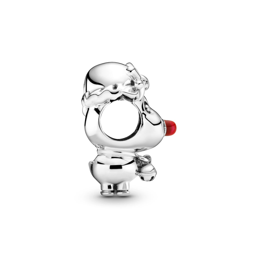 Profile view of Pandora Rudolph the Red Nose Reindeer Charm in sterling silver. He has a large head and small body, with antlers, a Christmas hat, small tail, bell, and a big red enamel nose.