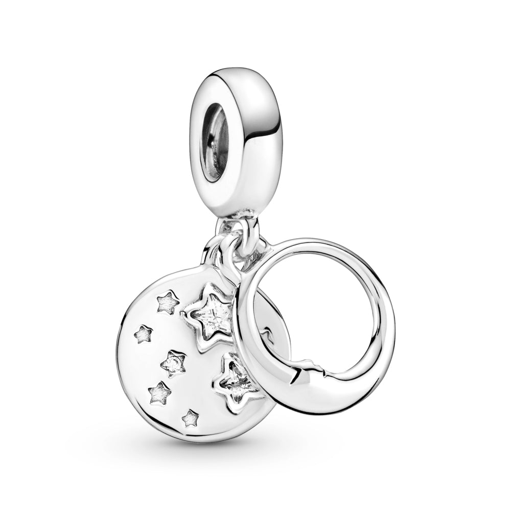 "Pandora Sleeping Moon and Stars Dangle Charm in sterling silver. The front dangle has an open circle with a sleeping crescent moon with a face on both sides. The back disc includes stars, some are set with round or star-shaped stones. ""You are my universe"" is engraved on the back with cut-out stars."