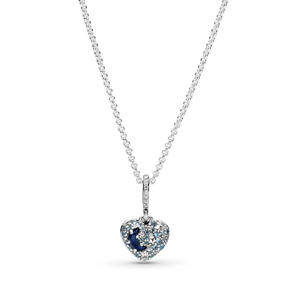 "Pandora Sparkling Blue Moon & Stars Heart Necklace in sterling silver. The heart-shaped pendant has blue stones, silver stars and a half-moon stone. ""Love you to the moon and back"" is engraved on the back of the heart."