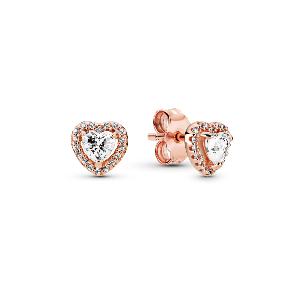 Pandora Sparkling Elevated Heart Stud Earrings in Pandora Rose™. Each earring features a raised clear heart-shaped stone surrounded by a halo of clear cubic zirconia stones.