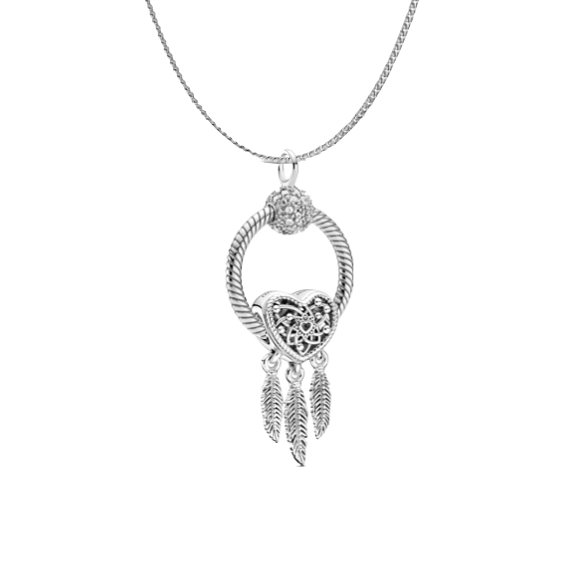 Pandora Dream of the Heart Necklace Gift Set in sterling silver. Sterling silver chain with small sparkling pave o pendant featuring the Open heart dream catcher charm with 3 feather dangles