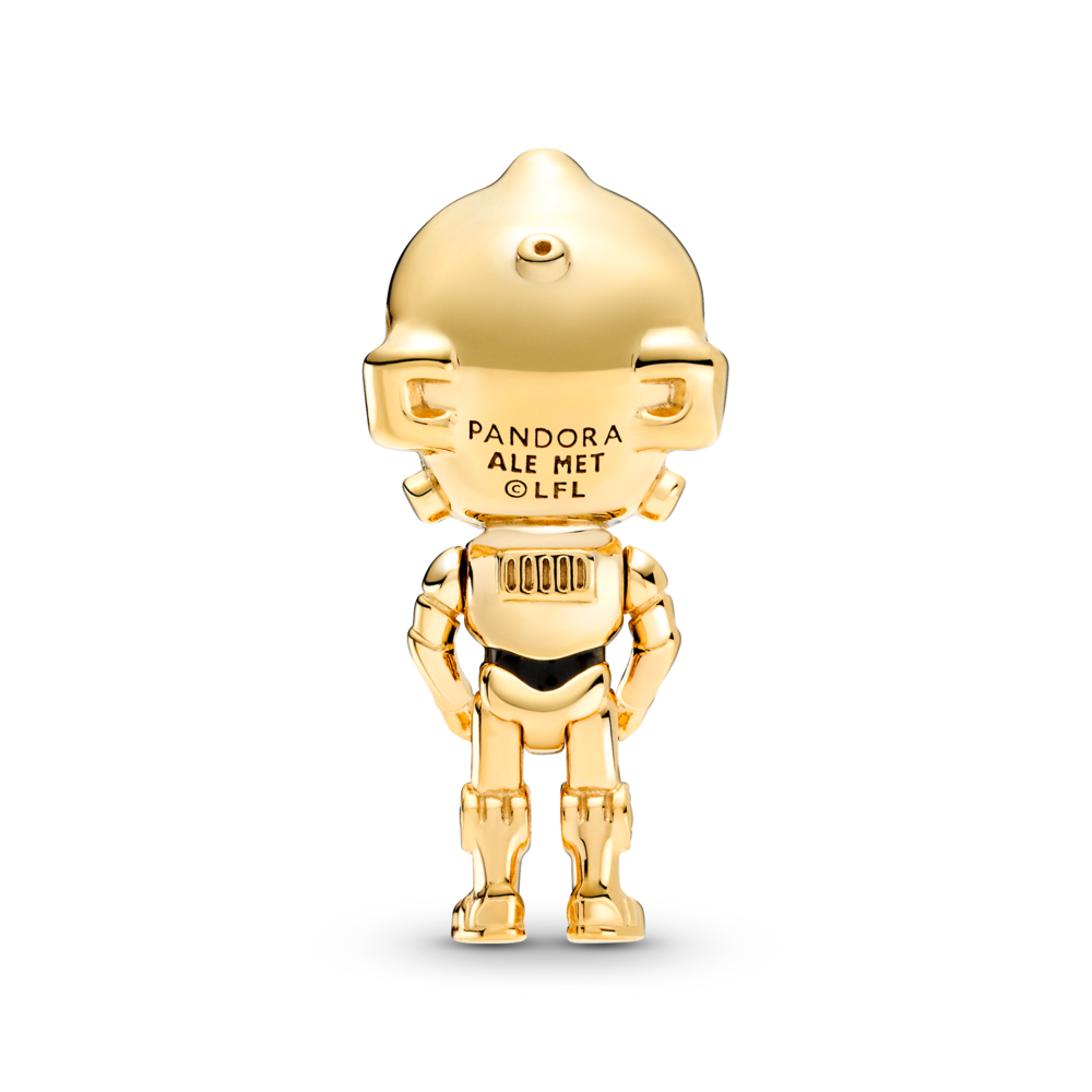 back view of Pandora Star Wars C-3P0 3D life like Charm in Pandora Shine Gold metal blend