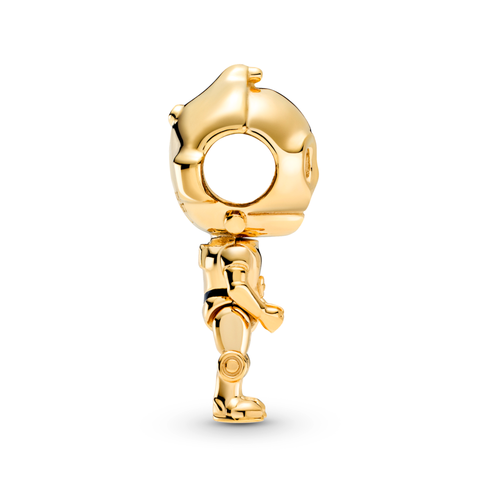 profile view of Pandora Star Wars C-3P0 3D life like Charm in Pandora Shine Gold metal blend