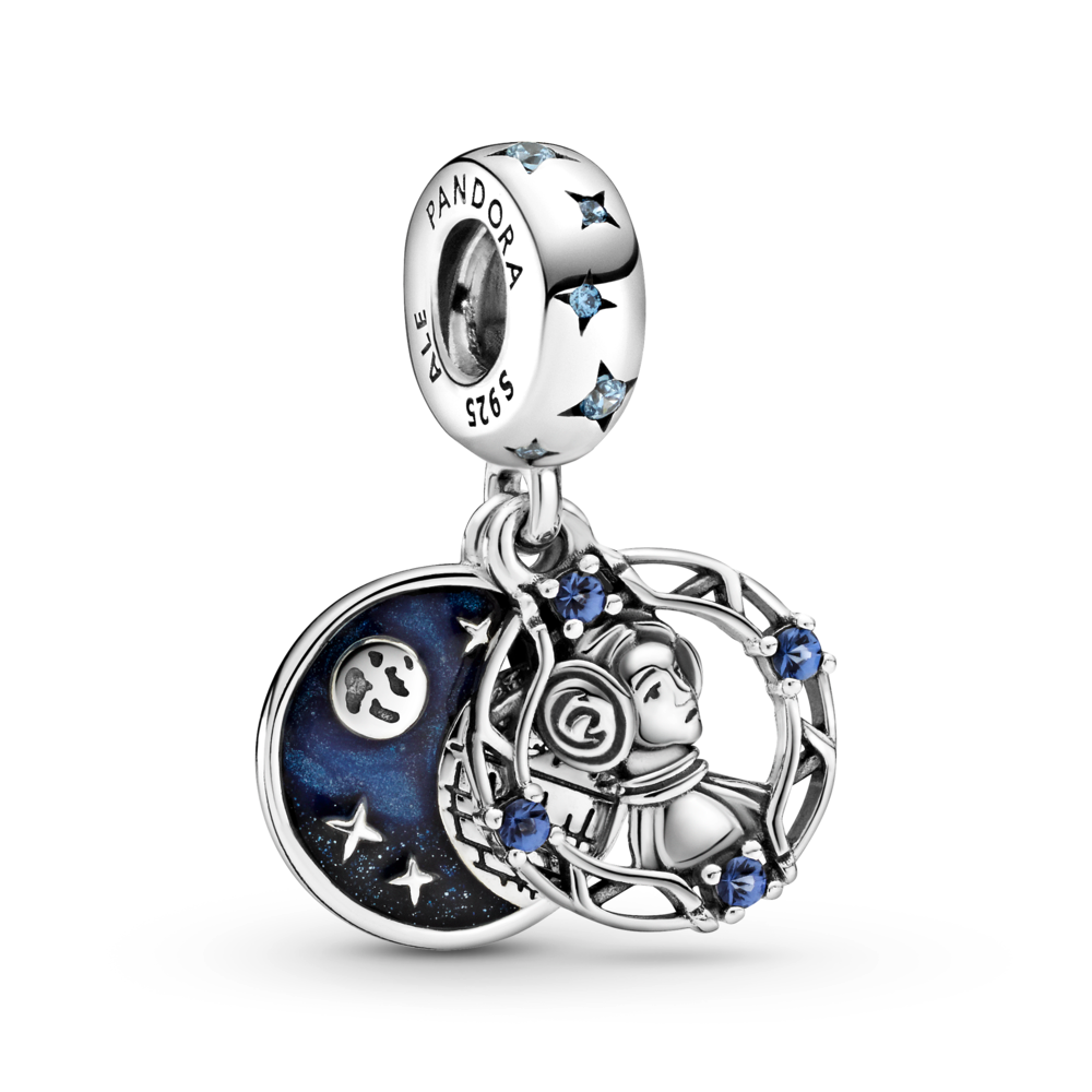 Pandora Star Wars Princess Leia double dangle charm in sterling silver with blue czs and enamel.   The front dangle is an angled profile view of Princess Leia  surrounded by an open circular lattice with blue czs. The back disc dangle has a glittery blue background with sterling silver Moon, stars, and death star details.