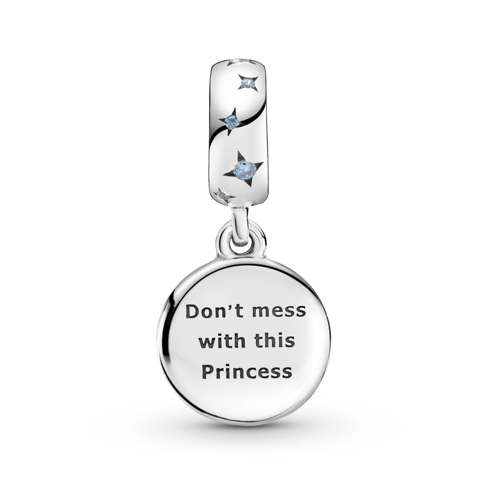 "Back view of Pandora Star Wars Princess Leia double dangle charm in sterling silver with blue czs.   The back disc is engraved ""Don't mess with this Princess"""