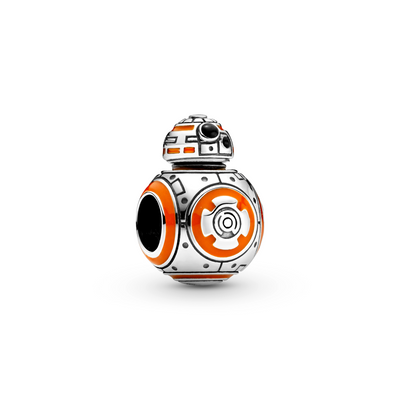 Pandora Star Wars BB-8 Charm in sterling silver is 3D and very life like with orange and black enamel