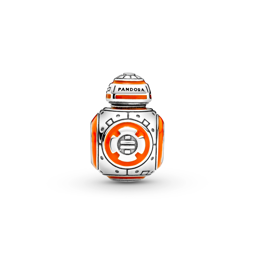 backside of Pandora Star Wars BB-8 Charm in sterling silver is 3D and very life like with orange and black enamel
