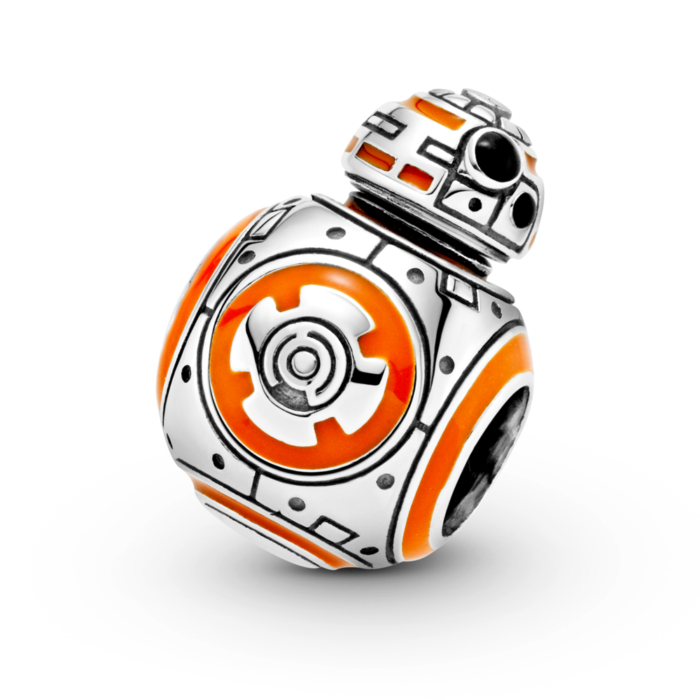 angled close up of Pandora Star Wars BB-8 Charm in sterling silver is 3D and very life like with orange and black enamel