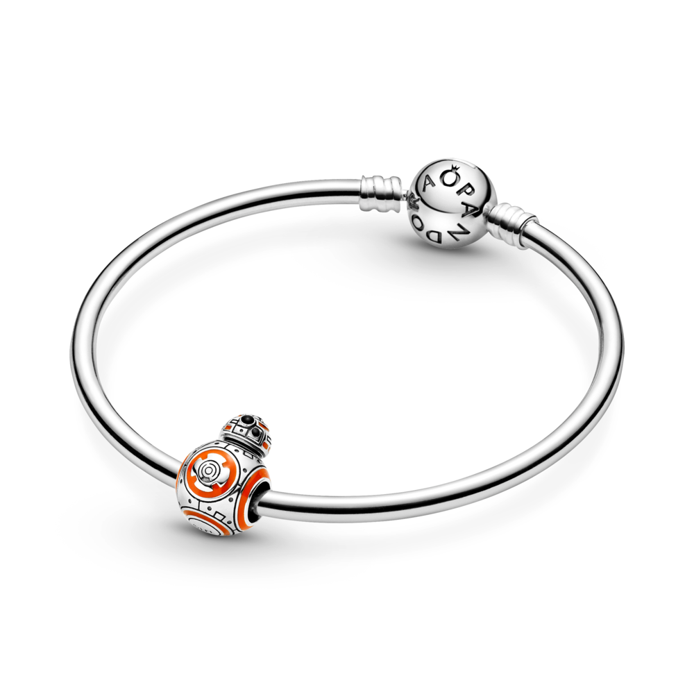 Pandora Star Wars BB-8 Charm in sterling silver is 3D and very life like with orange and black enamel featured on a Pandora Moments Bangle bracelet in smooth sterling silver.