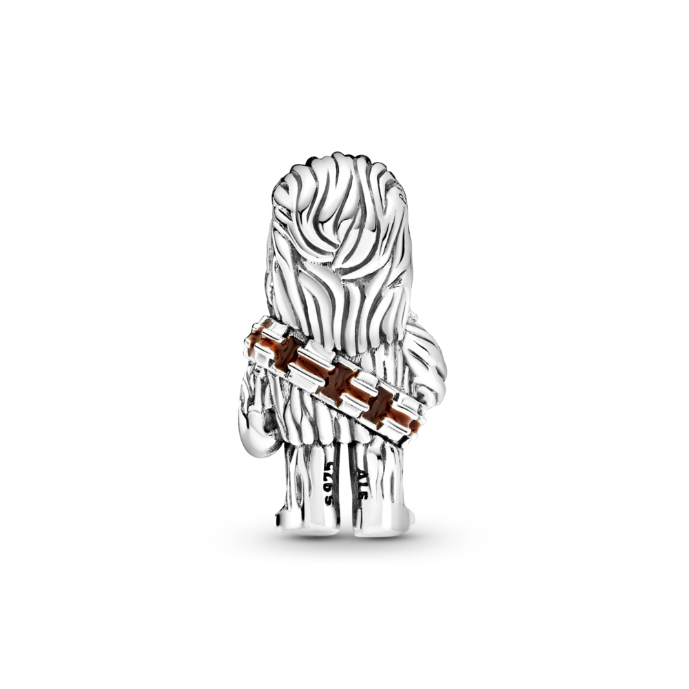 Back view of Pandora Star Wars Chewbacca Charm in sterling silver. Chewy has life like details: signature long hair and brown enameled belt, slung across his left shoulder.