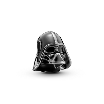 Pandora Star Wars Darth Vader Charm in oxidized sterling silver with black enamel.  The charm features Darth Vader's head, face mask and helmet. in life like detail.