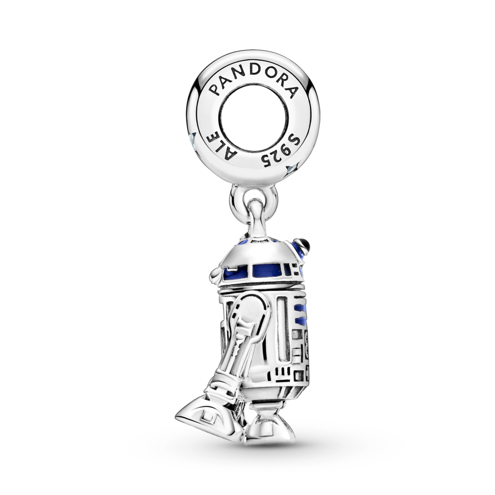 profile view of Pandora Star Wars R2-D2 Dangle Charm in sterling silver with blue, red, and black enamel detailing. The bale shows the circular charm opening  with a life like detailed R2-D2 replica charm hanging below.