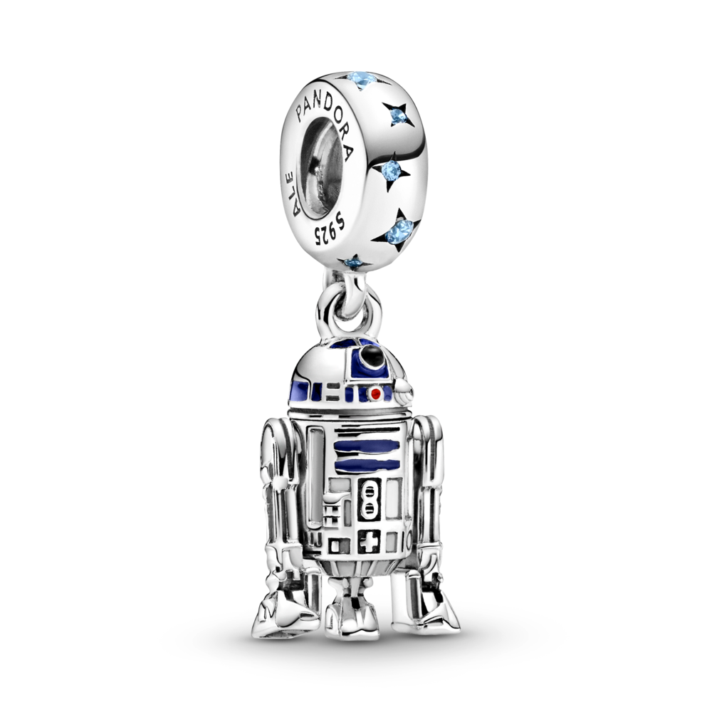Pandora Star Wars R2-D2 Dangle Charm in sterling silver with blue, red, and black enamel detailing. The bale has blue czs with 4 point cut out stars with a life like detailed R2-D2  replica charm