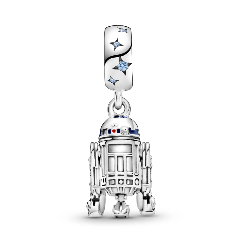Back side of Pandora Star Wars R2-D2 Dangle Charm in sterling silver with blue, red, and black enamel detailing. The bale has blue czs with 4 point cut out stars with a life like detailed R2-D2  replica charm.