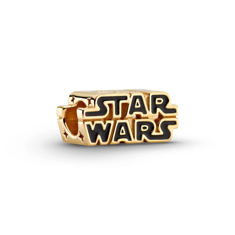 Pandora Star Wars Shining 3D logo charm in Pandora Shine (18k gold metal blend) . The letters are filled in with Black enamel detailing.