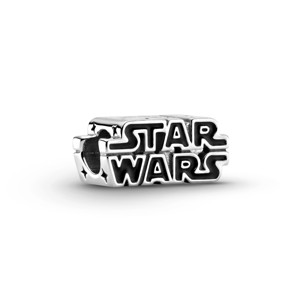 Pandora Star Wars 3D logo charm in sterling silver with star wars engraved in black enamel.