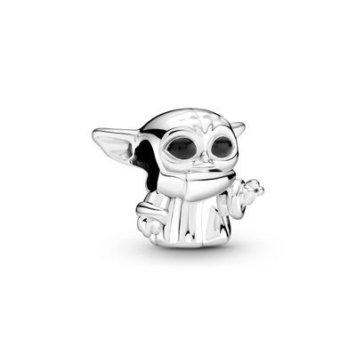 Baby Yoda 3D Pandora Star Wars charm in sterling silver from The Mandalorian TV series on Disney+.  The Child is standing with his left hand raised, has black enamel eyes, and is wearing his signature cloak.
