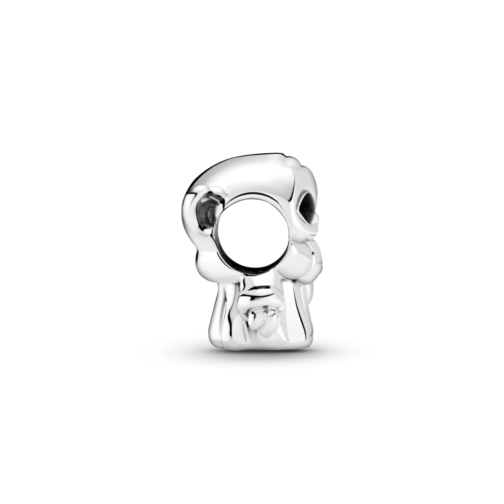 Profile View of Baby Yoda 3D Pandora Star Wars charm in sterling silver from The Mandalorian TV series on Disney+.  The Child is standing with his right hand by his side underneath the circular charm opening, He has black enamel eyes, and is wearing his signature cloak.