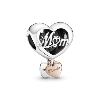 "Pandora Thank You Mom Heart Charm in sterling silver and Pandora Rose. Top heart has Mom cut out in script and the bottom dangling Pandora Rose heart is engraved ""Thanks""."