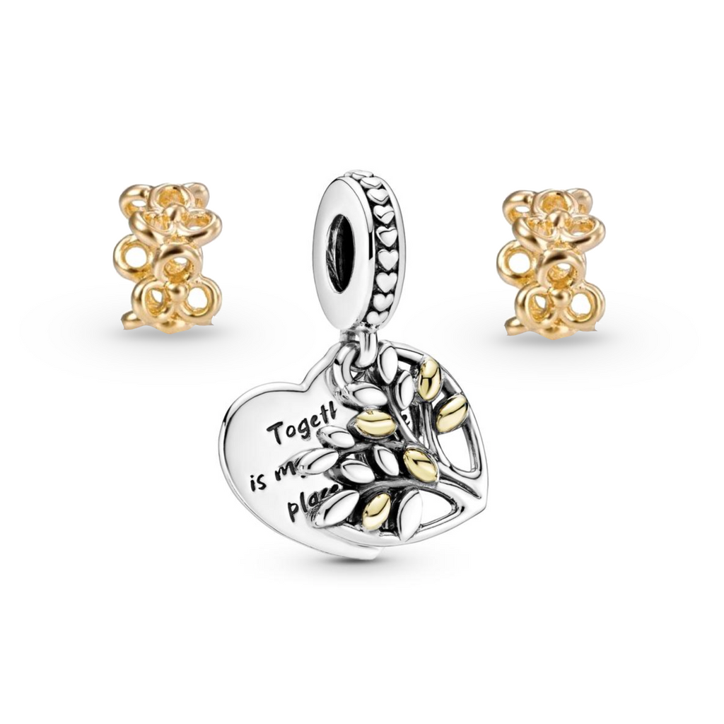 "Pandora Together is my favorite place charm gift set. Features tow-tone family tree dangle charm and 2 14K Gold trinity spacers. Tree charm is engraved ""Together is my favorite place to be""."
