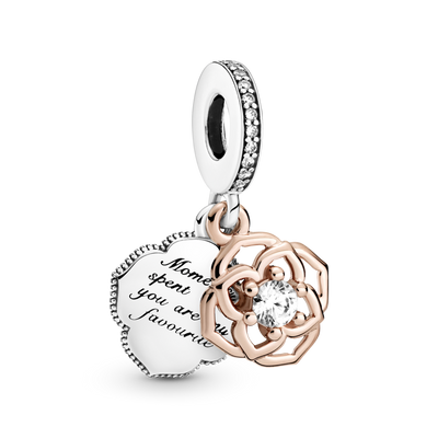 "Pandora Two-tone Rose Dangle Charm in sterling silver and Pandora rose. The back dangle is engraved ""Moments spent with you  are my favorite"""