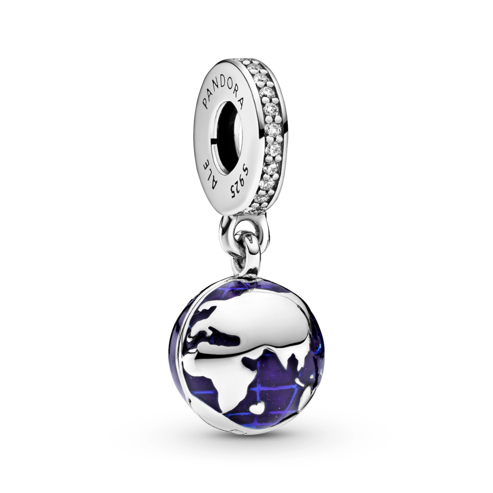 Pandora Unicef Our Blue Planet dangle charm in sterling silver with blue enamel ocean details and a channel set sparkling CZ bail. Africa, Europe and Asia featured on this side of the globe.