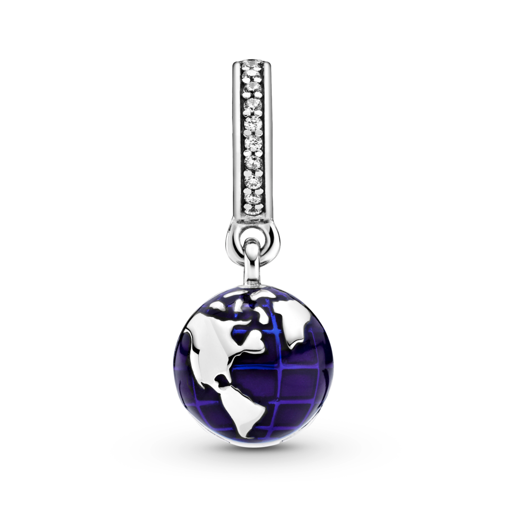 Pandora Unicef Our Blue Planet dangle charm in sterling silver with blue enamel ocean details and a channel set sparkling CZ bail. View of Americas and Greenland on the front.